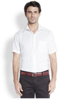 Park Avenue Men,s Solid Formal Linen White Shirt
