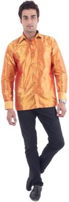 Scot Wilson Men's Solid Casual Orange Shirt