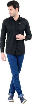 Piccolo Clothings Men's Solid Casual Black Shirt