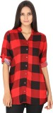 Franclo Women's Checkered Casual Red, Bl...