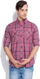 Silly People Men's Checkered Casual Pink...