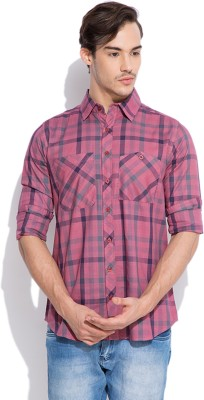 Silly People Men's Checkered Casual Pink Shirt
