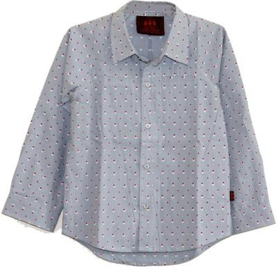 My Little Lambs Boy's Polka Print Casual Grey Shirt