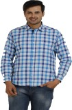 TT Men's Checkered Casual Blue Shirt