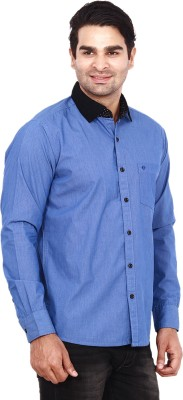 ANDY TRENDZ Men's Solid Casual Blue Shirt