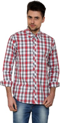 See Designs Men's Checkered Casual Reversible White, Red Shirt