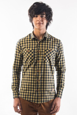 Srota Men's Checkered Casual Yellow, Blue Shirt