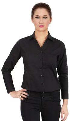 Apoyo Women's Solid Formal Black Shirt