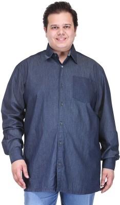 PlusS Men's Solid Casual Dark Blue Shirt