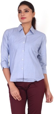 Valeta Women's Solid Formal Linen Blue Shirt