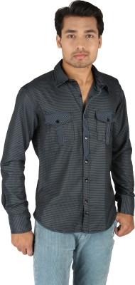 TomBerry Men's Self Design Casual Blue Shirt