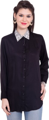 Tuntuk Women's Solid Casual Black Shirt
