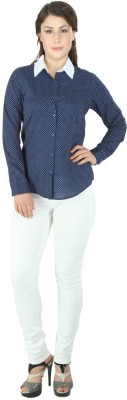 Fashion Wardrobe Women's Polka Print Casual Dark Blue Shirt