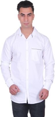 Cotblend Men's Solid Casual White Shirt