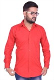 US Club Men's Solid Casual Red Shirt