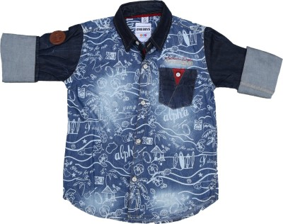 OKS Boys Boy's Printed Casual Blue Shirt