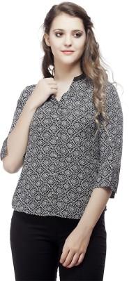 ORIANNE Women's Printed Casual Black Shirt