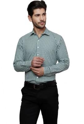 Thousand Shades Men's Checkered Formal Green Shirt