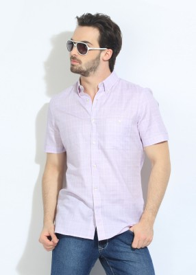 French Connection Men's Checkered Casual Pink, White Shirt