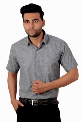 Studio Nexx Men's Solid, Woven Formal Grey Shirt