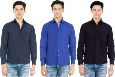 Atmosphere Men's Solid Formal Blue, Dark Blue, Black Shirt