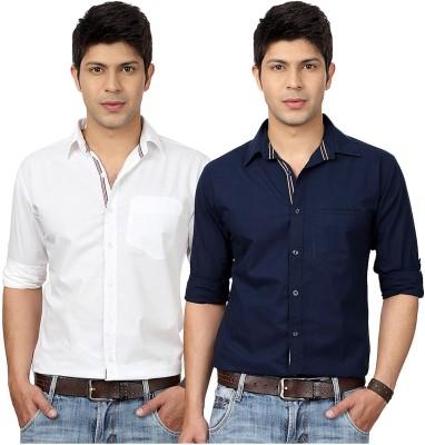 Top Notch Men's Solid Casual White, Dark Blue Shirt