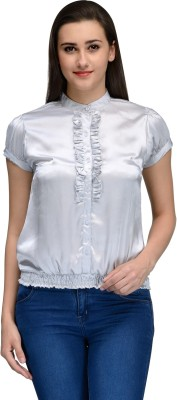 Vemero Women's Solid Party Silver Shirt