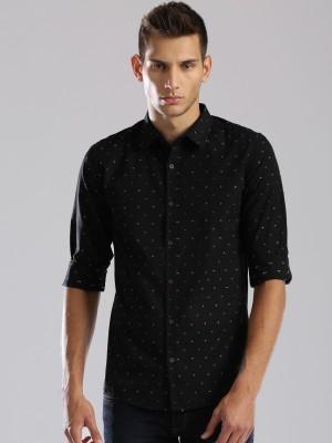 HRX by Hrithik Roshan Men's Self Design Casual Black Shirt