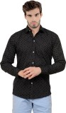 X-Cross Men's Printed Casual Black Shirt
