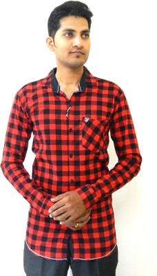 SmartPlay Men's Checkered Casual Red Shirt
