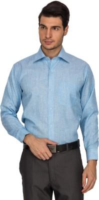 Indocity Men's Solid Formal Blue Shirt