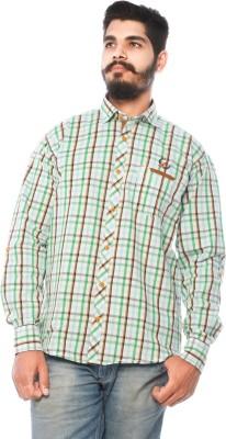 LWW Men's Checkered Casual Light Green, White Shirt