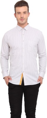 Ennoble Men's Checkered Casual Beige Shirt