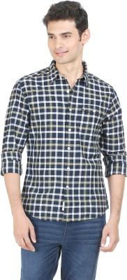 Flippd Men's Checkered Casual Dark Blue, Yellow Shirt