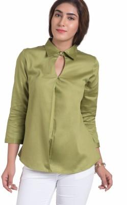 The Office Walk Women's Solid Formal Green Shirt