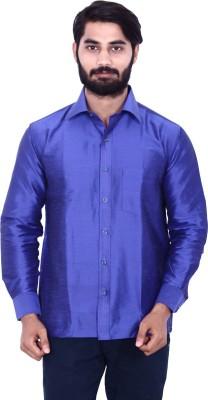 KENRICH Men's Solid Formal Blue Shirt