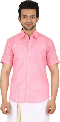 Prakasam Cotton Men's Self Design Casual, Festive, Formal, Party, Wedding Pink Shirt