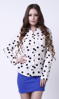 TheGudLook Women,s Polka Print Casual White, Black Shirt