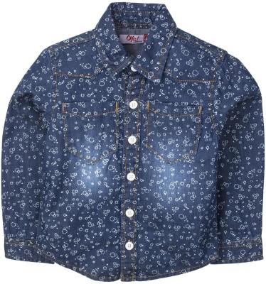 Oye Boy's Printed Casual Denim Blue Shirt