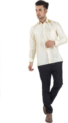 Scot Wilson Men's Self Design Casual White Shirt