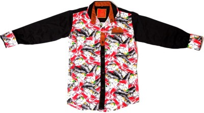 Kidicious Boy's Printed Casual Red, White, Black Shirt