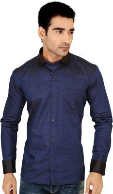 X-Secret Men's Printed Formal Dark Blue, Black Shirt