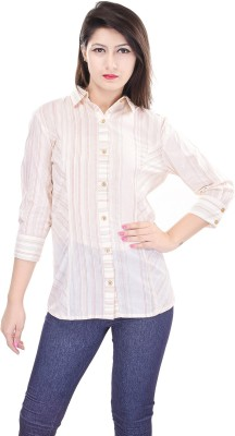 OVIYA Women,s Striped Casual Beige Shirt