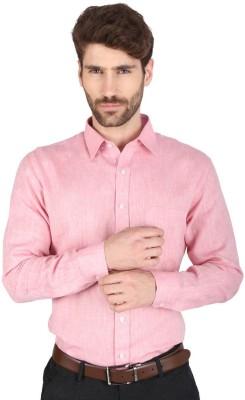 Big Tree Men,s Solid Formal Linen Pink Shirt