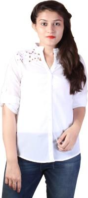 Paris Plush Women's Solid Casual White Shirt