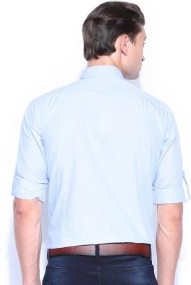 Mast & Harbour Men's Solid Formal Blue Shirt