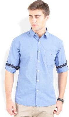 Bay Ridge Men's Solid Casual Blue Shirt