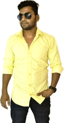 Heart Bit Men's Solid Casual Yellow Shirt
