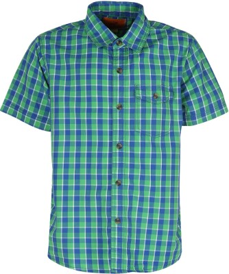Silver Streak Boy's Checkered Casual Green Shirt