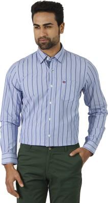London Fog Men's Striped Formal Light Blue Shirt